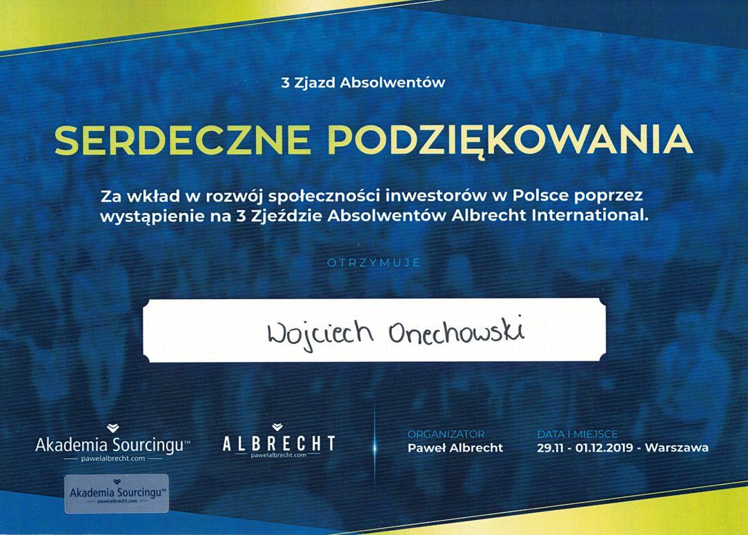 Podziękowanie za wkład w rozwój społeczności inwestorów w Polsce